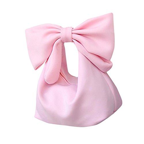 Nuevo Diseño Hombro y Embrague Bolso, Vovotrade Encantador Corbatín Pajarita Cuero Cremallera Cosmético Clutch Bolso Carteras de mano Moda Accesorios para Mujer Rosa
