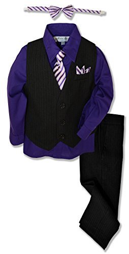- Johnnie Lene JL40 Pinstripe Boys Formal Dresswear Vest Set (6, Black/Purple)
