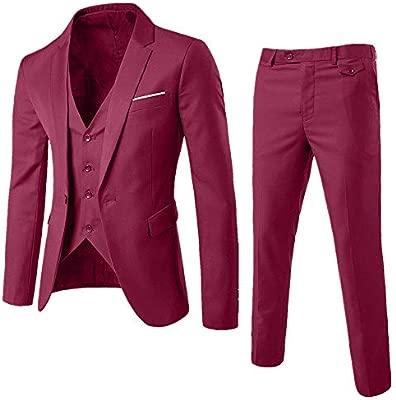OHQ Traje Hombre Chaqueta De Traje Formal De 3 Piezas Blazer De Boda De Negocios Chaleco Y Pantalones Tops Sudadera Abrigo Ropa