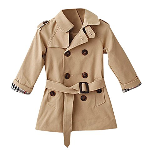 Pupik, Kids Elegant Solid Color Double Breasted Notch Collar Belted Trench Coat, Khaki 4T