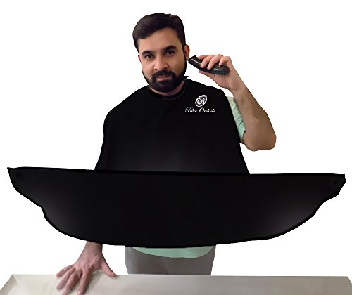 Beard Catcher - Beard Shaving Apron and bib for catching facial Hair Clippings (Black)