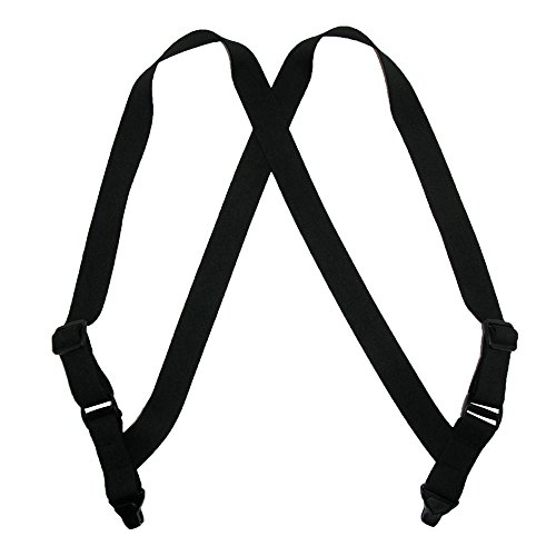 CTM Men's Elastic Side Plastic Clip TSA Compliant Airport Suspenders, Black by CTM (Image #1)