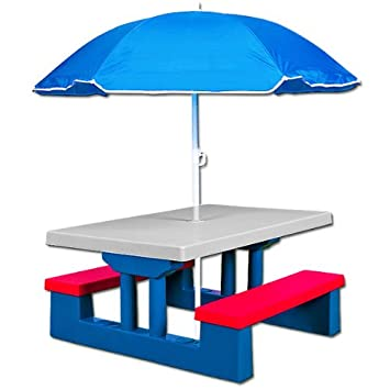 childrens kids table and bench picnic set with parasol garden play furniture