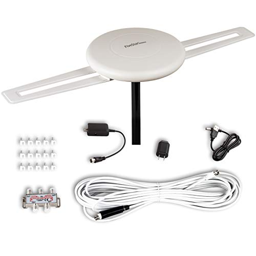 Five Star [Newest 2020] HDTV Antenna 360° Omni-Directional Reception Amplified Outdoor TV Antenna 150 Miles Long Range for Indoor/Outdoor,RV,Attic Support 4K 1080P UHF VHF 4TVs Installation Kit
