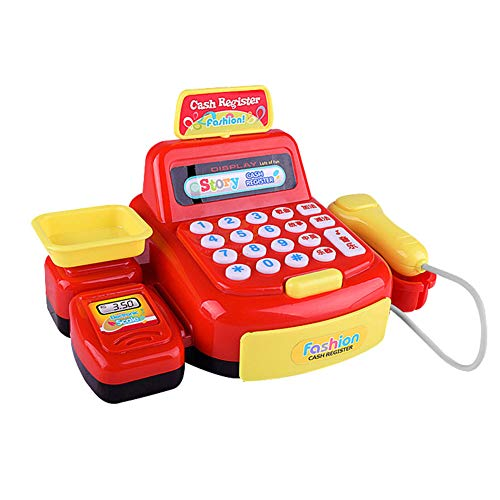(HsgbvictS Pretend Play Children Kids Girl Supermarket Sound Cash Register Checkout Pretend Play Toy Pretend Toy, Cash Register Simulation, Kids Gift - Red)