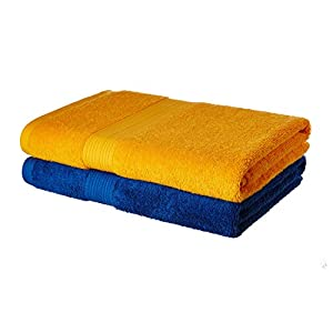 Amazon Brand – Solimo 100% Cotton 2 Piece Bath Towel Set, 500 GSM (Iris Blue and Sunshine Yellow)