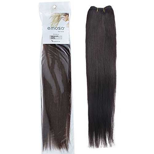7A Unprocessed Human Hair Weft, Virgin Brazilian Hair Remy Straight Hair Extension Natural Color 18 Inch