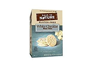 Back to Nature Non-GMO Rice Thins, Gluten Free White Cheddar, 4 Ounce