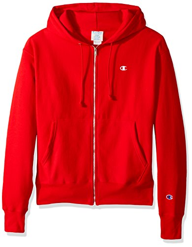 Champion LIFE Men's Reverse Weave Full-Zip Hoodie, Team Red Scarlet/Left Chest C Logo & Sleeve Patch, Large