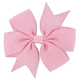 QingHan 40Pcs 3\'\' Grosgrain Ribbon Pinwheel Boutique Hair Bows Clips For Baby Girls Teens Toddlers Kids Children