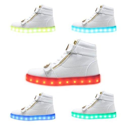 asciugamano Presente alla luminosi 7 piccolo carica da USB colori Scarpe donna luce lampeggianti da camminat bianco bianco moda uomo LED unisex JUNGLEST Arq5gr