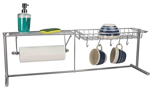 (Home Basics over the Sink Stainless Steel Kitchen Station Dish Rack Paper Towel Dispenser Organizer)