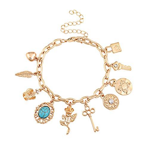 (ALEXY Women's Link Charm Bracelet Unicorn Clover Star Heart Pendant Charms Bracelet Bangles for Girls (E Gold))