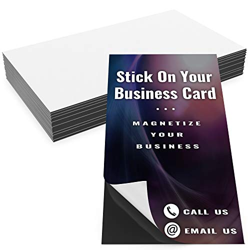 Pro-Grade Adhesive Business Card Magnets 25pk. Blank 2 in x 3.5 in Peel-and-Stick Magnetizers Turn Company Cards Into Magnetic Contact Info. Strong and Flexible for Realtors, Menu Ads and Promotions!