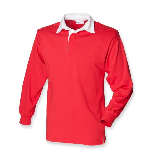 Front Row Men's Long Sleeve Classic Rugby Shirt Red/White XL (Red Long Sleeve Rugby Shirt With White Collar)