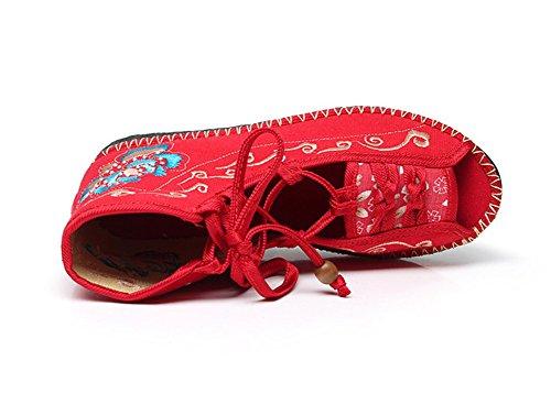 Avacostume Vrouwen Borduren Peep Toe Lace-up Flats Roman Sandaal Schoenen Rood