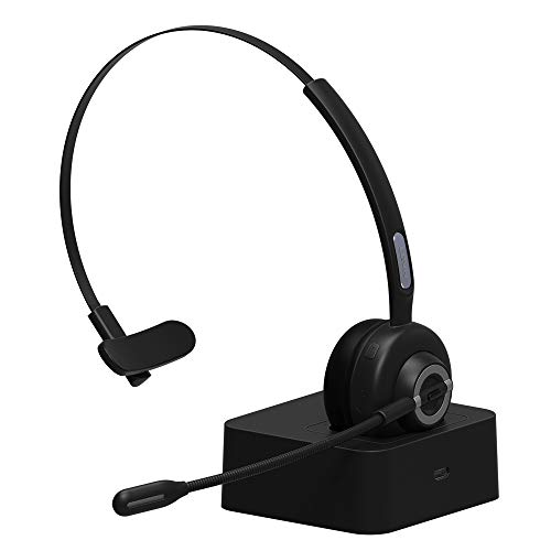 Trucker Bluetooth Headset/Bluetooth Phone Headset with Charging Station,17hrs Talk Time Office Bluetooth Headset with Noise Canceling for Truck Driver,Computer,Car,Call Center,Skype,VoIP,Support Music