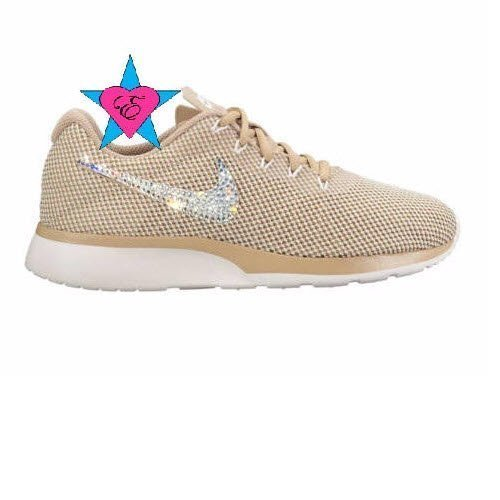 Crystal Bedazzled Gold Tan Nike Tanjun Womens Running Shoes by Eshays