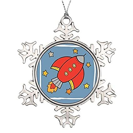EvelynDavid Snowflake Ornament Christmas Snowflake Ornaments Red Cartoon  Rocket Spaceship with Stars Large Christmas Tree Snowflake - Amazon.com: EvelynDavid Snowflake Ornament Christmas Snowflake