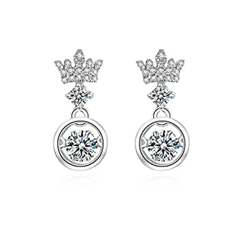 Duseco Dancing Earrings 925 Sterling Silver Round Shaped Crown Charm Dancing Heart Elegant Luxury Simple for - Crown Rhinestone Collar Charm