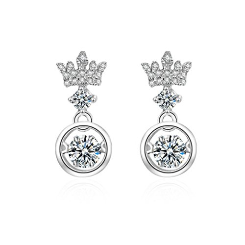 - Duseco Dancing Earrings 925 Sterling Silver Crown Charm Dancing Heart Elegant Luxury Simple for woman