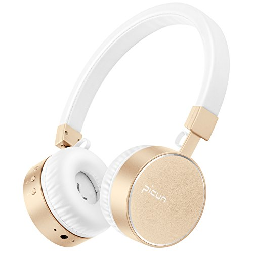 Wireless Headphones on Ear, HiFi Stereo Bluetooth Sport Headphones with Mic, 8 Hrs Playtime, Soft Protein Earmuffs, Leather Headband Comfortable for Women Girls PC Cellphones TV Picun P10 (White Gold)