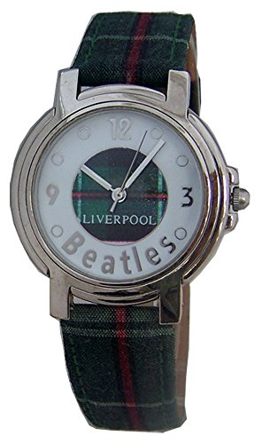 The Beatles LIverpool Watch in Wooden Guitar Display Case Green Plaid