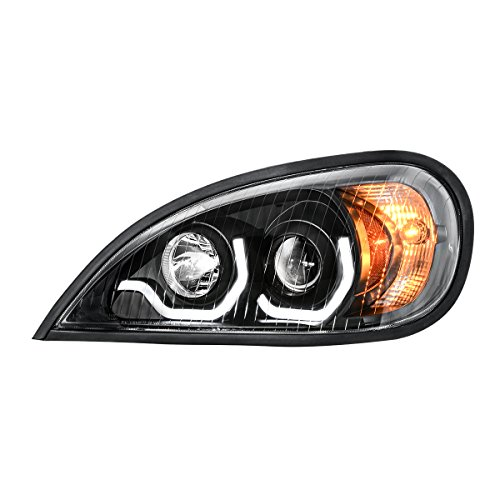Grand-General-89406-Freightliner-Columbia-Matte-Black-Projection-Headlight-with-White-LED-Running-Light-For-1996-To-2013--Driver-Side-1-Pack