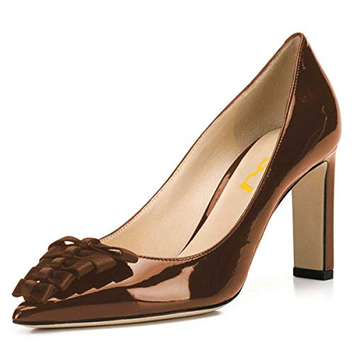 FSJ Women Graceful Pointed Toe Thick High Heel Pumps Slip On Patent Business Office Dress Shoes with Bows Size 15 Chocolate