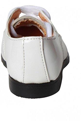 elegantes patrones de color blanco ceremonia derby zapato de bebé marfil