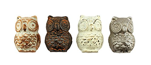 Set of 4 Cast Iron Owl Cabinet and Furniture Knobs (Knobs Drawer Whimsical)