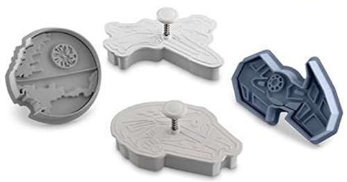 Star Wars Press-and-Stamp Cookie Cutters Set of 4: Death Star, Millennium Falcon, Vader's Tie Fighter, X-Wing Fighter