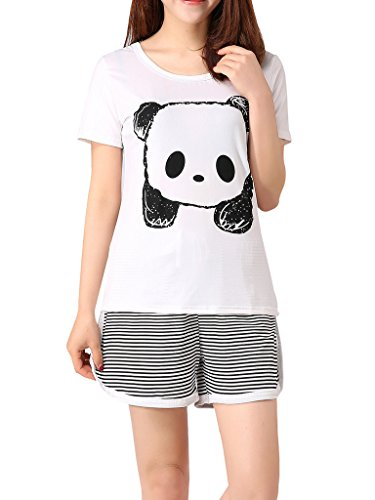 VENTELAN Women's Cute Panda Striped Short Sleeve Sleepwear Pjs Pajama Set (Girls Size 12 Christmas Pajamas)