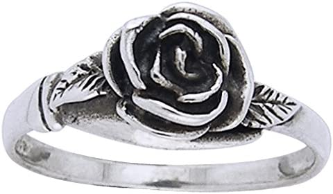 JESMING Tiny Rose Flower Silver Ring Stacking Rings for Women Small Dainty 925 Silver Plated Ring Delicate Everyday Ring for Women Minimalist Personalized Jewelry