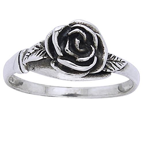 (Small Sterling Silver Detailed Rose Flower Ring Size 9(Sizes 3,4,5,6,7,8,9,10,11,12))