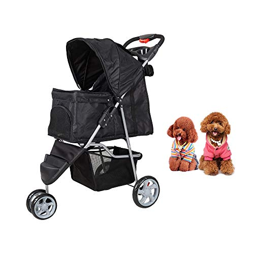 Dporticus 3 Wheel Pet Stroller Folding Carrier City Walk Strolling Cart for Dog、 Cat and More Multiple Colors