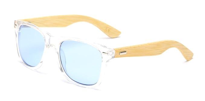 de8be22ce3 Bamboo Sunglasses Skateboard Polarized Lenses Retro Wayfarer Handmade Womens  Mens Sunglasses - Blue