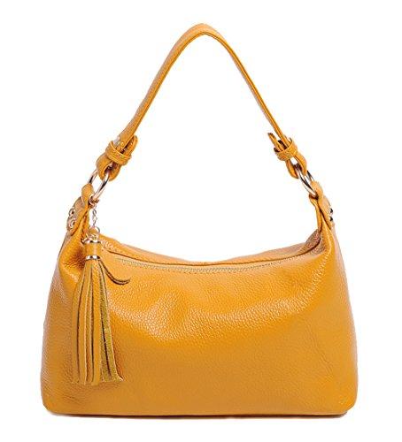 SAIERLONG Women's Tote Single Shoulder Bag Handbag Cow Leather Yellow