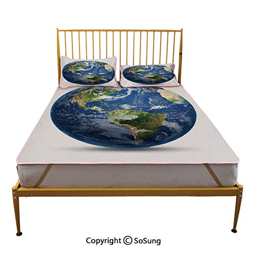 (World Map Creative Queen Size Summer Cool Mat,Planet Earth Picture from Space Satellite Continents Clouds Picture Sleeping & Play Cool Mat,Navy Blue Green White)