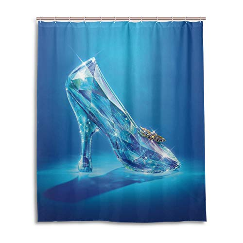 (Olicsley Cinderella Lost Shoes Shower Curtain Liner Waterproof Polyester Fabric Bathroom Shower Curtain Fabric Shower Curtain 12 Hooks 60 x 72 inches)