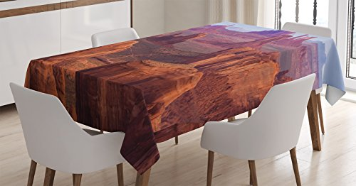 (Ambesonne House Decor Tablecloth, View of Deep Canyon with Different Scaled Length Red Rocks Discovery Art Theme, Dining Room Kitchen Rectangular Table Cover, 60 W X 84 L inches, Brown)
