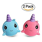 Squishy Slow Rising Squeeze Whale Bioamy 2 Pack Soft Cartoon Jumbo Squishies Decompression Toys 9CM Phone Straps Ballchains FiSaingace Fidget Toys(pink and blue)