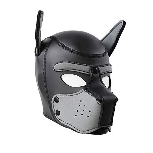 Mascara Cachorro Disfraz de Fiesta Halloween Juego de Roles Sexy Cosplay Mascaras de Perro en Latex de Goma Cabeza Completa Transpirable con Orejas (Gris, M)