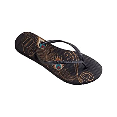 4e80dcfe9 Havaianas Womens Slim Peacock Flip Flops Black 6-7  Amazon.co.uk  Shoes    Bags