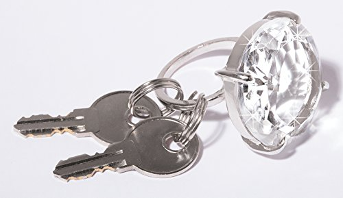Faux Diamond Ring Keychain - Oversize Engagement Ring Key (Solitaire Keychain)