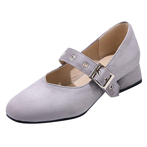 Carolbar Mujer Square Toe Hebilla Sweet Lolita Barbie Mary Janes Zapatos Gris