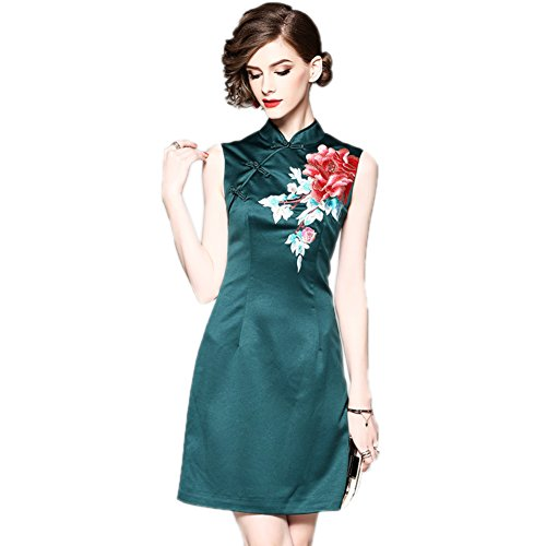 Fit cotyledon s Collar Party Slim Gowns Formal Neck Women Embroidered Sleeveless Dresses Fppwtr