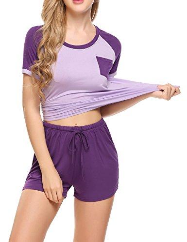 Ekouaer Women's Modal Round Neck Sleepwear Short Sleeve With Shorts Pajama Set Purple L (Pajamas Womens Purple)