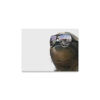Space Universe Galaxy Cute Sloth Wearing Sunglasses Oil Painting Home Decoration Canvas Prints- 16X12 Inch(One Side) - Galaxy Sloth Canvas Print