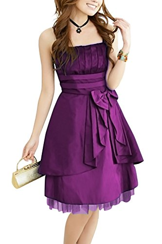 Black Butterfly 'Lola' Satin Clarity Bow Dress (Purple, US 14)